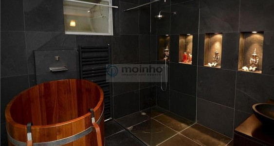 black brazilian slate bathroom