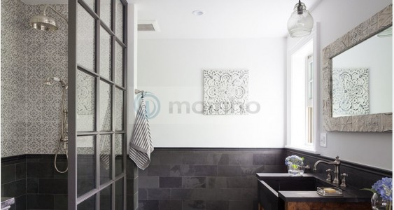 Traditional Black slate Brazil bathroom