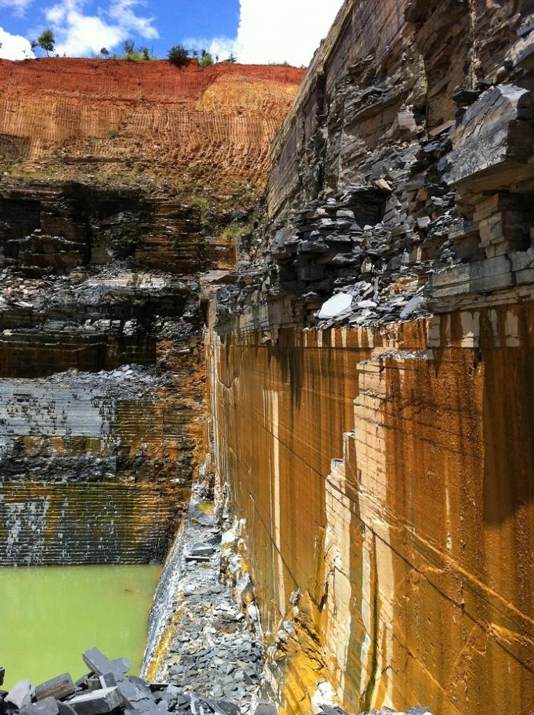 Side pure black slate quarry